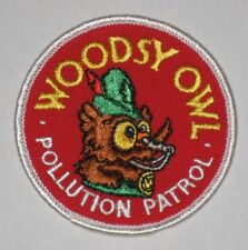 "VINTAGE WOODSY OWL ""POLLUTION PATROL"" PATCH - NEW UNUSED"