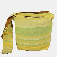 Umhängetasche Stoffbeutel Baumwolle Indien Beutel Tasche Hippie Gelb