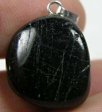 #22 33.75ct Brazil Natural Schorl Black Tourmaline Tumbled Crystal Pendant 6.75g