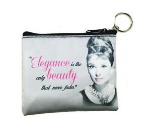 Audrey Hepburn Elegance Is The Only Beauty Key Chain Coin Purse  - Licensed New