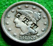 1853 COUNTERSTAMPED LARGE CENT YOUNG HEAD 'G T T '  UNLISTED IN BRUNK NICE LQQK!