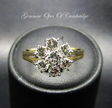 18ct Gold Diamond Daisy Cluster Flowerhead Ring Size O 3.1g 0.9ct
