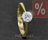 Diamant Brillant 585 Gold Damen Ring, 1,0ct; Verlobungsring aus 14 Karat Gold
