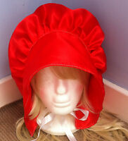 victorian edwardian adult baby fancy dress bonnet cap hat  sissy maid red satin