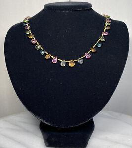 14K Yellow Gold Pink Yellow Green Multi Tourmaline Briolette Artisan Necklace
