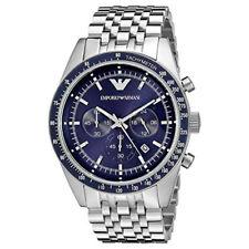 New In Box Emporio Armani AR6072 46mm Case Sportivo Blue Dial Chrono Men's Watch