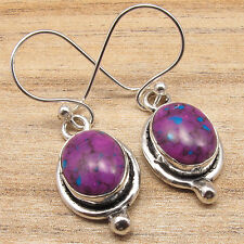 Turquoise Earrings, Silver Plated Jewelry Style on Focus ! Purple Copper