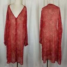 Revue Woman Sheer Bandana Print Button Down Shirt Dress Womens 3X Red Plunge