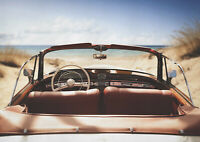 A1| Classic Car Poster Print A1 Size 60 x 90cm Beach Seaside Wall Gift #14897