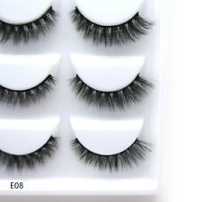 5 Pairs Real Mink Fur 3D False Eyelashes Cross Wispy Eye End Stretched Lashes