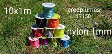 Lot Mix de 10m de fil nylon de 1mm pour colliers sautoirs bracelets 10x1m