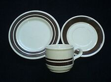 Kiln Craft Staffordshire Retro Cream/Brown Band Cup/Saucer/Plate x1 c1970-80