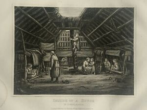 1853 Interior View of House Unalaska Alaska Engraving Antique Print
