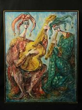 Fine Art Painting Oil On Canvas Two Harlequin Musicians - Chemiakin (School)