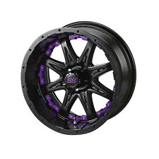 "4 Golf Cart  12"" Matte Black Revenge Wheel W/Purple Inserts"