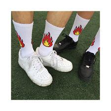 Mens Fire Skate Black White Long Socks