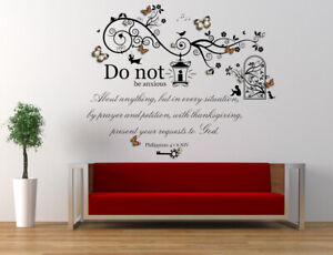 Philippians 4 v 6 NIV Bible Quote with 3D Butterflies, Vinyl Wall Art Stickers.