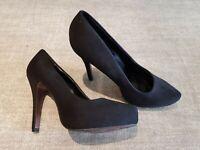 Graceland size 4 (37) black faux suede hidden platform stiletto heel court shoes