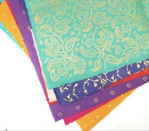 Handmade Lokta Fair Trade Wrapping Paper Sheet 50x70cm Gold Print Colour Options