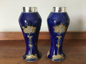 Pair of Royal Doulton Art Nouveau Blue Vases with Silver Rims - Painters' Marks