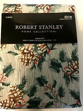 """NEW Robert Stanley Christmas Table Cloth 60 x 104"""" White Green Pine Cones Holly"""