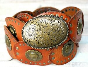 """Fossil BROWN GENUINE LEATHER 2.25""""Wd CONCHO MEDALLION STUDS WOMEN'S BELT S (F20"""
