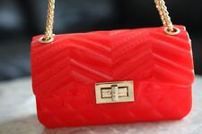 Jelly Chain Bag Geometric Heart Small Flap Crossbody Handbag - Red