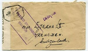Bahrain WWII censored cover to Grenchen Switzerland 4-7-1944 s/scans