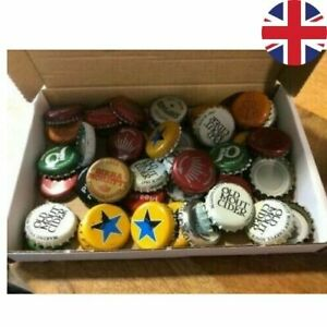 50 Used Bottle caps Crown Caps used beer cider lager soda mixed IN CRAFT BOX