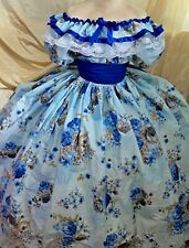 Spring Blue Floral Custom Gone with wind southern Civil War Victorian dress