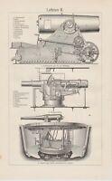 ca 1890 Moncrieff Gun Carriage ordnance warfare antique Lithograph print