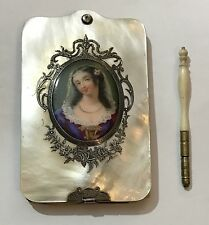 ANTIQUE FRENCH VICTORIAN Hand Painted Miniature LADY Portrait Note Book