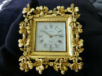 Vintage German Gold Gilt Ormolu Ornate Mantel Alarm Wind Up Clock (Watch Video)