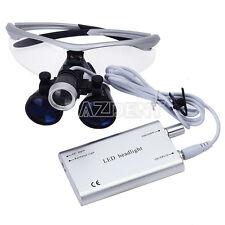 Dental Surgical Medical Binocular Loupes3.5X 420 + LED Head Light Lamp Silver