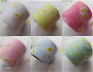 🎀 1MTR 6CM WIDE  TULLE FABRIC DAISY BOWS CRAFTS CHOICES SUPPLIES 🎀