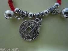 handmade Coin RED STRING BRACELET _ good health & fortune ca un3013