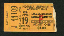 1974 Edgar Winter concert ticket stub Indiana University Shock Treatment