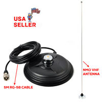 "NMO MAGNET ANTENNA MOUNT 6.1"" PL-259 + 5M CABLE + VHF Antenna For Motorola Radio"