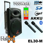 """12"""" inch 700W Mobile PA Sound System Battery Bluetooth 2 Mics Portable Speaker"""