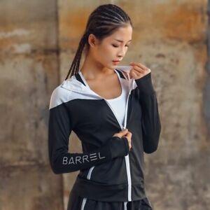 Hooded Women Thumb Hole Zipper Jacket Fitness Clothing Top Sportswear Sweatshirt