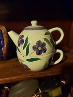 Teapot & Cup Set for 1 Stacking White With Purple Flowers Pansies UNUSED