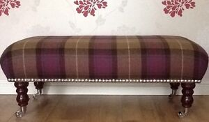 A Quality Long Footstool / Stool In 100% Tartan Wool Check Fabric