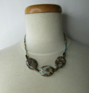 """Glass Seed Bead and Natural Stone Necklace Sterling Silver Clasp 18"""" Beautiful"""