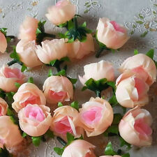 10X Champagne Silk Artificial Rose Flower Head Home Wedding Party Craft DIY HOT