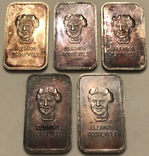 Lot Of 5 Eleanor Roosevelt 1oz American Silver Editions 1973 .999 Silver Bars!