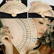 Japanese Chinese Party Folding Wood Hand Fan Plum Blossom Bamboo Pocket Fan