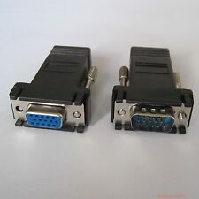 pair Rj45 to 15pin vga Male + female for VGA Extend over CAT5 CAT6 RJ45 Cable