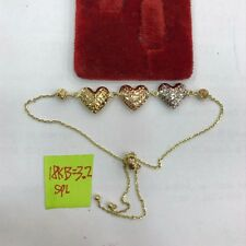 Gold Authentic 18k saudi gold 3 hearts two tone bracelet,,