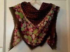Epice square wool scarf polka dot brown black green pink geo print 34 x 35