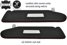RED STITCH 2X SUN VISOR LEATHER COVER FOR VW T5 TRANSPORTER 2 MIRROR CUTOUT